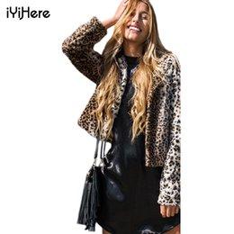 Wholesale Leopard Print Faux Fur Coats - 2016 New Fashion Europe Brand Winter Women Faux Fur Coat Domineering Feral Casual Fur Leopard Coat Warm Jackets Coats Outerwear