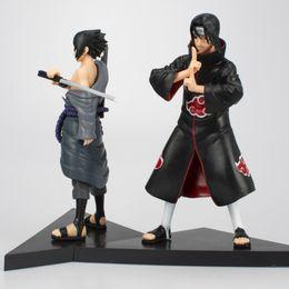 itachi sasuke azione figura Sconti 2 pezzi / set Anime Naruto figure Uchiha Sasuke + Uchiha itachi Action PVC Figure da collezione Modello Giocattoli circa 16 cm confezionati in sacchetto del opp REGALO