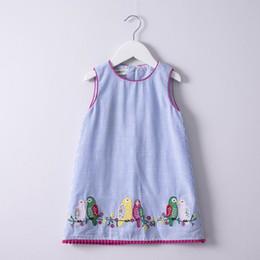 Wholesale New Girls Embroidered Dress - Retail 2018 Summer New Girl Dress Blue White Stripe Birds Embroidery Cotton Sundress Children Clothing