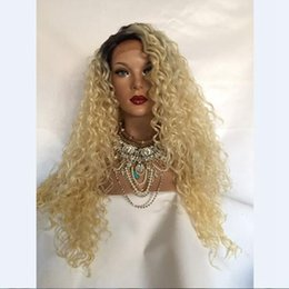 Wholesale blonde curly cosplay wigs - MHAZEL afro kinky curly shrot dark roots 1b# blonde #613 synthetic glueless front wig cosplay hair