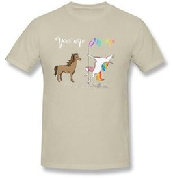 Wholesale Breathable Atmosphere - Your wife my wife funny unicorn T Shirt XXXL Custom Short Sleeve T-shirts For Men Atmosphere Cotton Crewneck Funny T-shirts