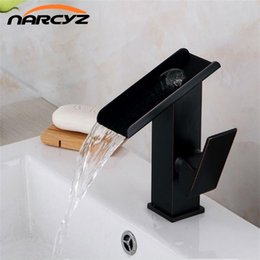 Wholesale waterfall bathroom vessel sink faucet - Basin Faucet Brass Black Waterfall Bathroom Vessel Sink Faucets Single Handle Glass Spout Oil Rubbed Bronze Mixer Tap A1010