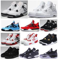 pretty nice cc60d dfa83 Alta qualità 4 4s bianco cemento puro denaro scarpe da basket uomini donne allevati  toro bravo sportivo scarpe da ginnastica con scarpe box