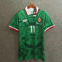mexico soccer al por mayor Rebajas 1998 mexico retro camiseta de fútbol local Top thai 3AAA calidad customzied nombre número uniformes de fútbol camiseta de fútbol venta al por mayor