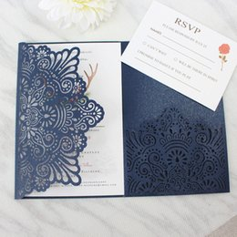 Wholesale bridal shower cards - Fall navy blue wedding invitations with belly band RSVP card pocket tri-folded customized printing marriage bridal shower invites
