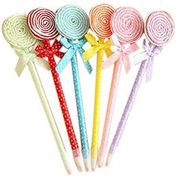 Wholesale Personalized Gifts Children - 12 Pcs Cute Cool Lollipop Decor Personalized Promotional Princess Ballpoint Pens Office School Supplies Students Children Gift