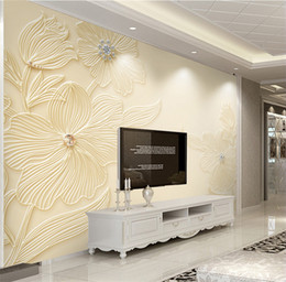 Wholesale Flower Wallpapers High Quality - Custom Mural Wallpaper High Quality Diamond Flower Pattern 3D Relief Modern Simple Living Room TV Background Wall Painting Paper