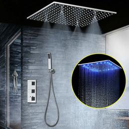 Führte eingebettete dusche online-Unterputz-Thermostat-Duschset SUS304 mit verspiegelter Platte und 20-Zoll-LED-Duschkopf mit eingebetteter Decke Rainfall Mist SPA