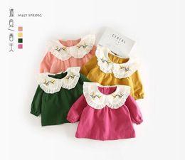Wholesale Girls Mandarin Collar - 2018 INS NEW ARRIVAL Girls Kids shirt long Sleeve big turn down collalouse & shirt 4 colorsr solid color print shirts kid baby cool casual b