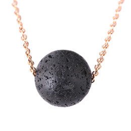 Wholesale triangle shaped necklace - Round-shaped Triangle Lava-rock Beads Pendant Necklace Essential Oil Diffuser Necklaces Women Neck Jewelry