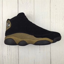 Wholesale Air 3d - Air Retro 13 Olive Basketball Shoes For Men Brown Black Real Carbon Fiber Authentic Sneakers 3D Eyes 2018 Newest Limited Sports With Box