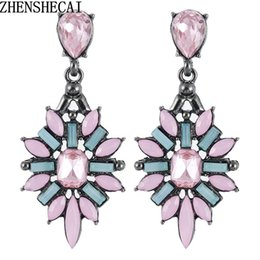 colorful chandeliers 2018 - 2018 New Fashion Colorful Flower Big Luxury Drop Earring Pendant Crystal Gem Statement Earrings Jewelry Wholesale A28