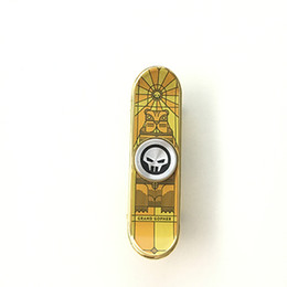 2019 rollerhandtaschen Woodfone Hand Spinner Skateboard Legierung Stents Scrub Metalllegierung Stents Chrome Stahl Scrub Finger Skate Spielzeug Griffbrett gelb