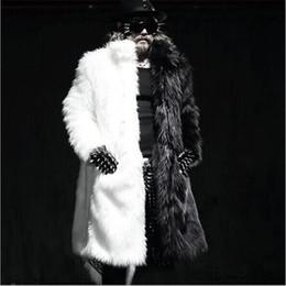 Wholesale Leather Parka Fur - Wholesale- Free Shipping Winter Men Long Faux Fur Coat Black and White Splice Plus Size Parka Coat Fashion Windbreaker Design Stage Costume