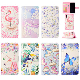 Wholesale Iphone Bga - For iphone x cute unicorn flamingo flip wallet cases cover for iphone 7 8 plus 6 6s card holder cartoon phone bga