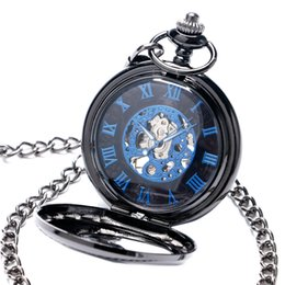Wholesale cool skeleton watches - New Trendy Cool Black Peacock Hollow Case Blue Roman Number Skeleton Dial Steampunk Mechanical Pocket Watch Gift for Men Women