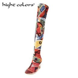Botas de tubo de cocina online-2018 Nuevo calcetines Stovepipe elásticos Botas para mujer Botas sobre la rodilla de moda Zapatos de tacón alto de cristal Mujer Sapatos