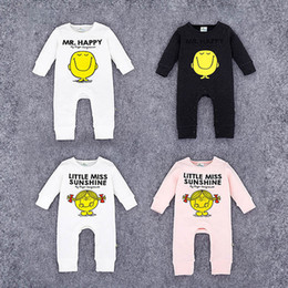 Wholesale Baby Girl Face - Baby Jumpsuits Big Face Head Portrait Cartoon Printed Long Sleeve Baby Boys Girls Rompers Cotton Blending 6-24M