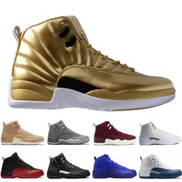 638284eae62ef4 12 12s mens basketball shoes Wheat Dark Grey Bordeaux Flu Game The Master  Taxi Playoffs Sunrise Royal Blue Red Suede Wool Sports sneakers