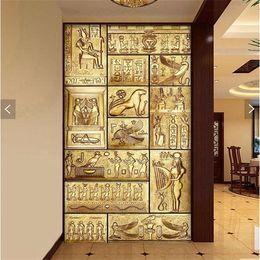 Pintura de egipto online-Carácter abstracto de la personalidad que pinta los murales grandes TV que fija el papel de la pared pasillo del pórtico papel pintado no tejido en Egipto antiguo