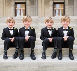 Wholesale Cool Boys Jackets - Black Peaked Lpel Flowers Boy Suits Cool Handsome Formal Tuxedos Bespoke Wedding Party Suits Children Set(Jacket+Pants+Bowtie)