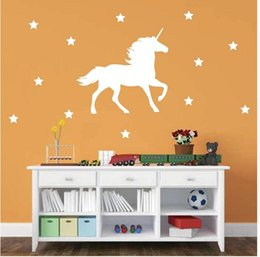 Wholesale Nursery Stickers Ship - Fantastic fairy tale Unicorn Horse Vinyl Wall Decal with Stars Nursery Wall Stickers Decor , free shipping 58*64 cm