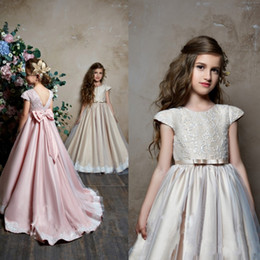 pentelei dresses Promo Codes - Pentelei 2019 Cute Flower Girl Dresses Satin Ball Gown Backless Jewel Applique Bow Train Sleeveless Floor Length Formal Pageant Party Wear