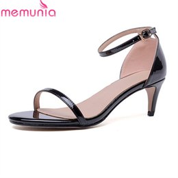 fb76f46a751c3 wholesale 2018 women sandals genuine leather ladies shoes simple buckle  sexy summer shoes elegant thin heel shoes woman size 34-39