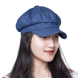 sombrero irlandés Rebajas VOBOOM Algodón Irish Newsboy Cap Women Lady  Summer Caps Denim Azul Negro Chica e67129bf999