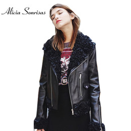 Wholesale Ring Jackets - 2017 Winter Autumn Leather Jacket Women Black Cashmere Slim Motorcycle Fashion Fur Ring Collar Wash PU Street Coat HRC1050