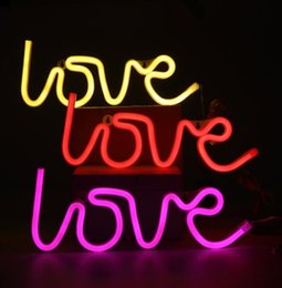 Wholesale Led Love Sign - LOVE Lighted LED Neon Sign Children Kids Girls Room Bedroom Wall Decor Wedding Accessories Light Home Decor 35x13x2cm