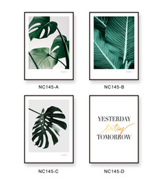 Wholesale painted leaf - Modern Nordic Green Leaf Plant Poster Print Floral Wall Art Photo Nordic Hipster Rural Home Decor Letters Painting No Frame