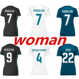 Wholesale Womens Blue White Shirt - 3AAA+Thai Quality 2017 2018 womens Real madrid soccer Jersey 17 18 RONALDO home white away black BALE RAMOS ISCO football shirt for womens