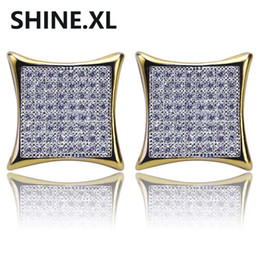 Wholesale large studs earrings - 18K Gold Color Plated Square Large Stud Earring Iced Out Cubic Zircon Fashion Male Women Hip Hop Jewelry