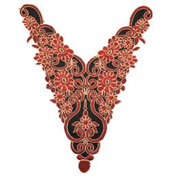Nouvelle arrivée chaude brodé tissu couture fournitures africaine dentelle applique dentelle sexy col V décolleté collier applique accessoires bricolage robes ? partir de fabricateur