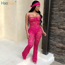 see through lace jumpsuits Coupons - HAOYUAN Spaghetti Strap Sexy Lace Rompers Womens Jumpsuit Casual Overalls Backless Mesh See Through Bodycon Jumpsuit With Scarf