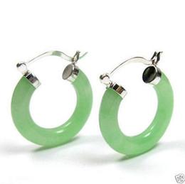 Wholesale Light Green Jade Jewelry - Jewelry Natural light Green Jade Click Hoop Earrings<<<free shipping