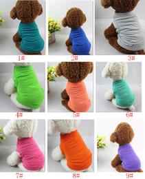 Cheap dog clothes online-Magliette per animali Estate Vestiti solidi per cani Moda Top Camicie Gilet Vestiti di cotone Cucciolo di cane Vestiti per cani a buon mercato Abbigliamento per animali domestici HH7-1486