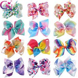 "Wholesale unicorn party - 12 color 5"" JOJO Bow girl colorful Geometry print Bow Barrettes Girl Rainbow girl Hairbands Girls Hair Unicorn party hair bows"