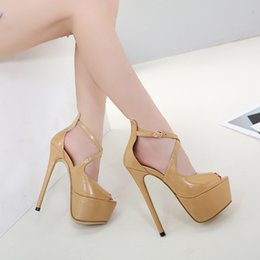 Wholesale Crossover Tie - 2018 new sexy heels hollow out crossover hasp 16 cm high with fine with waterproof computer fish mouth female sandals