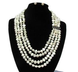Insiemi reali di collane di perle online-Set di gioielli New Pearl Real, 7-8mm White BaroqueOrecchini per collana di perle d'acqua dolce genuini, Bridesmaids Brides