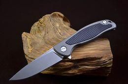 Wholesale bored lock - New Ball Bearing Flipper folding knife D2 Stonewash Finish Blade TC4 Titanium&G10 Handle EDC Pocket Knives Frame Lock