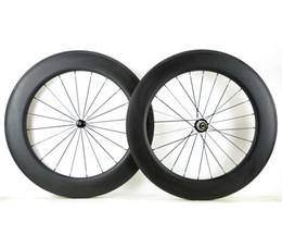 Wholesale 88mm Carbon Rims - 700C 88mm depth Full carbon wheels 25mm width Road bike clincher tubular carbon wheelset with powerway R36 hub U-shape rim 3k mate finish