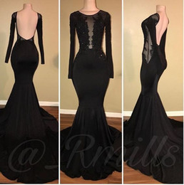 Wholesale prom see through dress beads - 2018 African Black Mermaid Prom Dresses Long Sleeves Open Back Appliques Beads Sweep Train See Through Evening Party Gowns