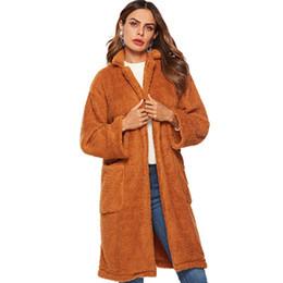 Deutschland Marke frauen Winter Lange Brown Woolen Plüsch Mantel 2018 Neue Heiße Revers Große Tasche Doppelseitige Samt Mantel Hohe Qualität Lose Oberbekleidung Versorgung