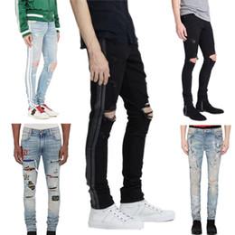 Wholesale Slim Light Blue Jeans Men - 2018 High quality Mens jeans Distressed Motorcycle biker jeans Rock Skinny Slim Ripped hole stripe Famous Brand Denim pants Designer jeans