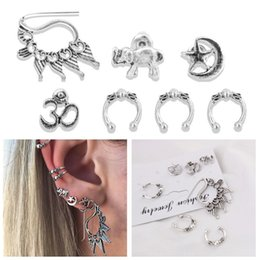 Wholesale Earings Sets - 7pcs Set Hook Stud Earrings Set Vintage Retro Silver Color Moon Elephant Shell Starfish Earings Women Brincos Jewelry D470L