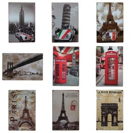 Wholesale read design - Eiffel Tower Design Iron Painting Fashion Retro Style Tin Sign For Reading Room Bedroom Decoration Tins Poster High Quality 20*30cm ZC