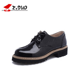Wholesale Oxford Lace Up Shoes Girl - Autumn Black brand round toe thick low heels Oxford shoes solid preppy style women strange heels lazy pump lace-up Girls School Casual Shoes