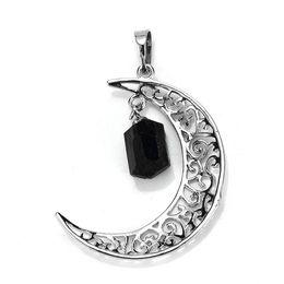 Joyas de turmalina negra online-Comercio al por mayor 10 Unids Único Plateado Forma Irregular Natural Turmalina Negro Crescent Moon Piedra Colgante de Joyería Del Encanto
